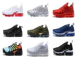 Wholesale Flat Leather Shoe - 2018 NEW Vapormax TN Plus Olive In Metallic 12 Colorways Running Mens Shoes Sports Male Shoe Pack Triple Black TRIPLE WHITE [with box]