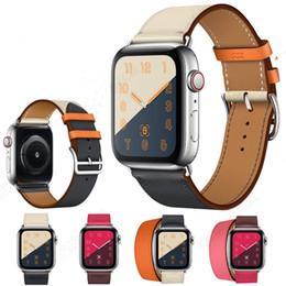Correa de cuero estilo pulsera online-Nuevo y elegante estilo de negocios, estilo casual, correa de cuero genuino, correa de reloj, correa para 38/42 mm, 40/44 mm, serie de relojes de Apple 4