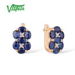 Сапфир онлайн-VISTOSO Gold Earrings For Women 14K 585 Rose Gold Shiny Blue Sapphire Diamond Wedding Band Engagement  Trendy Fine Jewelry