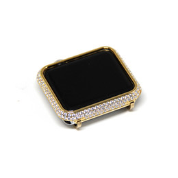 Wholesale Mm Covers - New 38 42 mm Watch Frame Case Cover For Apple Watch Series 1 2 Cover Case For Apple Watch gold plated with diamond