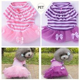 Patrón de falda de perro online-2018 Cute Dog Wedding Dress DHL Free Bow Patrón Verano Perros Princesa Tutu Vestidos Pet Pink Purple Falda Ropa Suministros XS -XXL