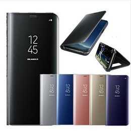 Wholesale Galaxy Note Flip Covers - For Samsung Galaxy S9 S8 Plus S6 S7 Edge Note 8 Smart Clear Mirror View Case For Samsung A3 A5 A7 J3 J5 J7 2017 Flip Stand Cover