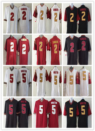 Wholesale great white short - 2018 Mens NCAA Florida State Seminoles College 2 Deion Sanders 5 Jameis Winston Jerseys Embroidery logo Great Free Shipping