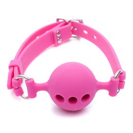 Wholesale game sex s - Free Shipping!S  M L Size Full Silicone Ball Gag for Women Adult Game Head Harness Mouth Gagged Bondage Restraints Sex Products Sex Toy