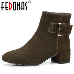 7fbcce2bd FEDONAS Moda Mujeres Botines Otoño Invierno Corto Martin Zapatos Mujer  Tacones Hebillas Partido Noche Club Bombas Oficina Bombas