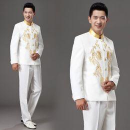 2019 trajes blancos únicos 2018 ropa nueva Performance Chorus Stage traje retro túnica anfitriona de estilo chino trajes + pantalones Red White desgaste único de los hombres trajes blancos únicos baratos
