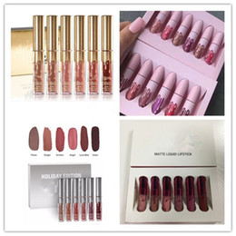 Wholesale cosmetic gift sets wholesale - Ho tK Cosmetics Matte Liquid Lipstick Set 6colors Lip Birthday Edition Holiday Valentine Limited 6pcs set DHL shipping+Gift