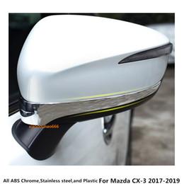 cubierta mazda espejo Rebajas Alta calidad Para Mazda CX-3 CX3 2017 2018 2019 Car styling cuerpo ABS Chrome vista trasera Espejo retrovisor lateral cubierta accesorio del ajuste del palillo 2pcs
