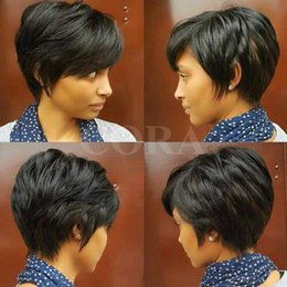 Wholesale popular bob - 100% Human Real Hair Longer Pixie Cuts Wig Short Cut Layered Wigs For Black Women Popular Hairstyles Glueless Black Bob Wigs