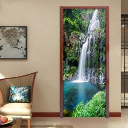 Wholesale Wall Waterfalls - PVC Self Adhesive Waterproof 3D Stereo Waterfalls Wallpaper Living Room Bedroom Chinese Style Photo Wall Door Sticker Home Decor