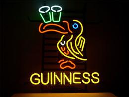 ирландские таблички Скидка Неоновая вывеска для GUINNESS ирландский лагер Эль Тукан вывеска настоящее стекло пивной бар паб дисплей открытый свет знаки 17 * 14