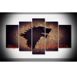Wholesale Cartoon Painting Games - Game of Thrones Map,5 Pieces Canvas Prints Wall Art Oil Painting Home Decor  (Unframed Framed)