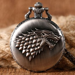 Wholesale Pocket Watch Games - Antique Game of Thrones Strak Family Crest Winter is Coming Design Pocket Watch Unique Gifts Unisex Fob Clock