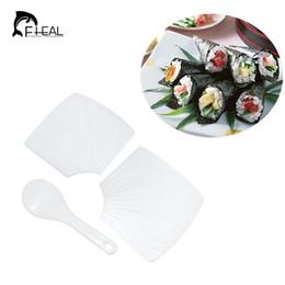 Wholesale rice hand - FHEAL 3pcs set Hand-rolled Sushi Rice Mold Sushi Rolling Mat Bento Rice Paddles Seawead Maker DIY Cooking Tool