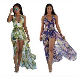 Wholesale bohemian style clothing for women - 2018 Summer Dress For Women Bohemian Style Women Maxi Prom Party Dresses Evening Chiffon Women Clothing Vintage Long Summer Dress Plus size