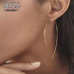 copper wire earrings Promo Codes - ES143 Fish Shaped Stud Earrings Simplicity Handmade Copper Wire Earring for Women Brincos de gota Feminino 2018 Geometric NEW
