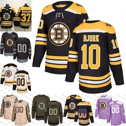 2018-2019 Men s Boston Bruins 10 Anders Bjork Ice Hockey Jersey purple  black white army green 100th flat usa women youth size S-3XL 0345269bc