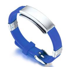benutzerdefinierte gravierte armbänder Rabatt Freie kundenspezifische Stich-sortierte Farbe Edelstahl-Sport-Identifikations-Armband-Armbänder, justierbar