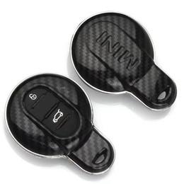 Automobile a catena chiave a distanza online-Chiave a distanza in fibra di carbonio per auto con chiave a conchiglia Proteggi copertura Fob Holder catena per BMW Mini Cooper S JCW F55 F56 F54 R56 R57 R58 R59 R60 R61