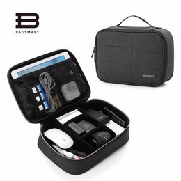 Wholesale Accessories For Boys - BAGSMART Double Layer Electronic Accessories Organizer, Travel Gear Bag for Cables, USB Flash Drive, Plug (black,blue,grey)