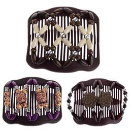 2019 accessori di pettine di capelli vintage Farfalla vintage simulato perlina di legno pettini elastici pettine a doppio pettine per diapositive sconti accessori di pettine di capelli vintage