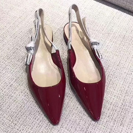 Wholesale Browning Leather Sling - high quality genuine leather pointy sling back low heels flats shoes d black size35-40