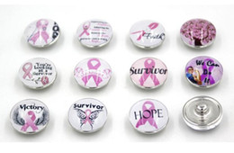 Wholesale Diy For Jewelry - Free Shipping Pink Ribbon Breast Cancer Awareness Buttons Noosa Chunky 18mm DIY Snap Interchangeable Button for Snap Bracelet Rings Jewelry