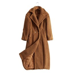 Wholesale Ladies Wool Red Coats - Winter Loose Cocoon Woolen Blends Coats Thick Lambswool Long Style Lapel Neck Vintage Casual Ladies Outerwear Coat 2018 Fashion