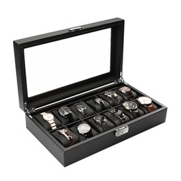 Wholesale Carbon Fiber Storage Boxes - Black High-Grade 12 Slot Luxury Carbon Fiber Display Design Jewelry Display Watch Box Storage Holder Large Glass Window