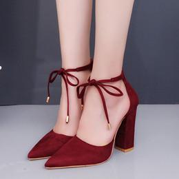 Wholesale Big Knot Tie - Wholesale-Plus Size Shoe Women Big Bow Tie Pumps Women Shoe High Heels Suede Wedding Shoe Zapatos De Mujer T62
