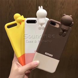 Wholesale Rubber Duck Cartoon - Brown Bear Cartoon Silicone Phone Case Soft Silicon Protection 3D Cute Rabbit Duck Rubber Back Cover Case for iphone X 8 7 6 6s plus