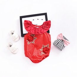 Argentina Summer Kids Baby Girls Dot Lovely bordado Rose sin mangas del mameluco del bebé Mono traje de bebé Babygirl trajes ropa roja KA588 cheap red rose girls clothing Suministro