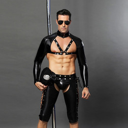 Canada Hommes Sexy Lingerie kit Costumes De Policier Chaud Ouvert Entrejambe Érotique Sexy Slim Fit Costume De Cosplay Carnaval Police Costumes Offre