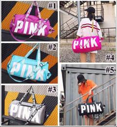 Wholesale Fabrics Clothing - Hot 5 Colors Pink Letter Duffel Bags Women Handbags Large Capacity Travel Duffle Striped Waterproof Beach Bag Shoulder Bag