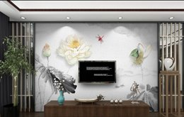 Wholesale Chinese Ink Paintings Lotus - 3d murals wallpaper for living room New Chinese three-dimensional relief ink lotus TV background wall decorative painting