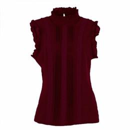 Tops chiffon verão senhoras on-line-2017 Moda Estilo Retro Mulheres Camisa Reffle Chiffon Blusa Escritório Senhora Casual Verão Top Blusa Camisas