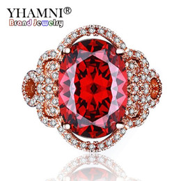 Wholesale Garnet Ring Set - YHAMNI Women Fashion Flower Shiny Red Crystal Ring Red Garnet Gem CZ Diamond Engagement Jewelry Rose Gold Filled Promise Rings KR241