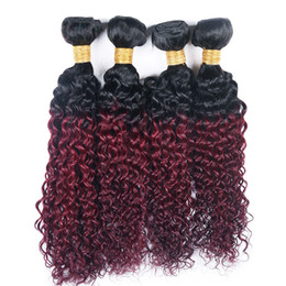 Wholesale cheap ombre human hair - Kinky Curly 4 Bundles T 1B 99J Ombre Dark Wine Red Two Tone Color Cheap Brazilian Virgin Human Hair Weave 4 Bundles Extension