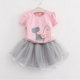 Wholesale Set Girl Kitty - Children flower kitty outfits girls cat print top+tutu skirts 2pcs set 2018 summer Baby suit Boutique kids Clothing Sets C3862