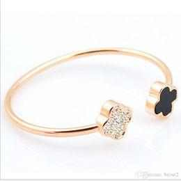 Wholesale Stainless Steel Clover Bracelet - New Korean version of Korean bracelet fashion personality clover Seiko high-quality female bracelet bracelet wholesale