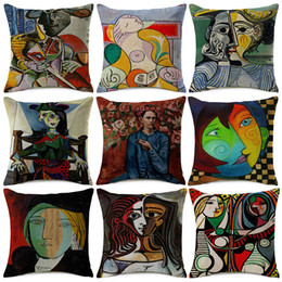 Wholesale Modern Abstract Painting Black Red - Pablo Picasso Paintings Cushion Covers European Modern Abstract Painting Art Cushion Cover Sofa Decorative Linen Cotton Pillow Case