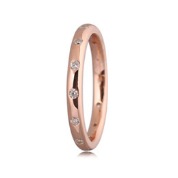 Wholesale Polish Rose Ring - 30% Silver Wome Ring Droplets Ring Polished Rose Gold Colour Clear CZ Girl Birthday Gift Fine fit Lady Jewelry
