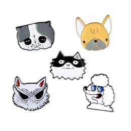 Wholesale Diy Metal Badges - Cartoon Animal Cool Dog Pug Bulldog Poodle Alaskan Malamute Metal Brooch Pins DIY Button Pin Denim Jacket Pin Badge Gift Jewelry