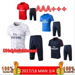Wholesale free soccer training - 2018 PSG 3 4 Short Sleeve Jersey Training Suit 18 19 Pants tracksuit NEYMAR JR MBAPPE training suit CAVANI soccer Jerseys kit free shipping