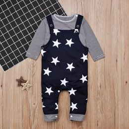 Wholesale Baby Boy Suspender Trousers - Baby Stars Print Overall outfits striped long sleeve T shirt with shoulder buttons+dark blue stars suspender trousers toddlers 2 pcs casual