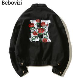 2c4bf738c1 veste rétro pour moto Promotion Bebovizi Marque Hipster Hommes Coton Rose  Broderie Denim Vestes Slim Jeans