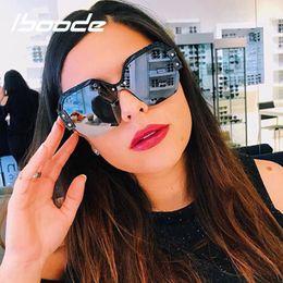 2019 occhiali da sole blu per gli uomini iboode Half Frame Sunglasses Donna Uomo Designer Designer Square Occhiali da sole Donna Fashion Blue Integrated Shades UV400 Protection occhiali da sole blu per gli uomini economici