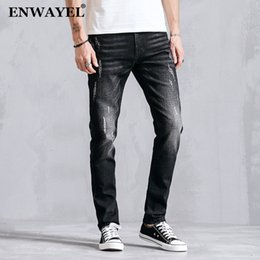 ENWAYEL Nuevo Lápiz Ocasional Jeans Hombres Ropa Apenado Moda Slim Fit  Flaco Masculino Pantalones de Mezclilla Para Hombres Ropa Negro K8022 649728deb360
