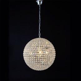 lampe pendante de boule de cristal menée Promotion Boule ronde moderne fer diamètre de lustre 15cm 20cm 30cm 50cm 60cm led lampes cristal simple lustres led lustre suspension éclairage