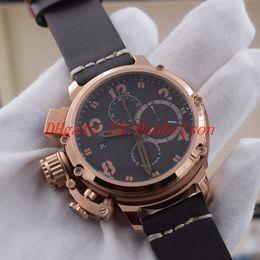 Роскошный бренд спортивный стиль мужские часы розовое золото черный Shell кварцевые многофункциональный секундомер Кожаный ремешок U большой циферблат 6 руки наручные часы от